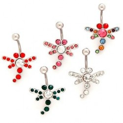 Surgical Steel Gem Jewel Dragonfly Belly / Navel Bar