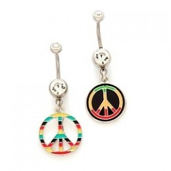 Surgical Steel Peace / Rasta Jamaican Dangle / Drop Belly / Navel Bar