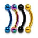 Anodised Titanium Curve Eyebrow / Nipple Bar with Balls