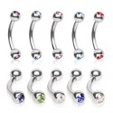 Surgical Steel Curve Eyebrow / Nipple Bar with Colour Gem Balls