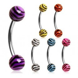 Surgical Steel Eyebrow / Nipple Curve Barbell with Zebra / Tiger Print Balls