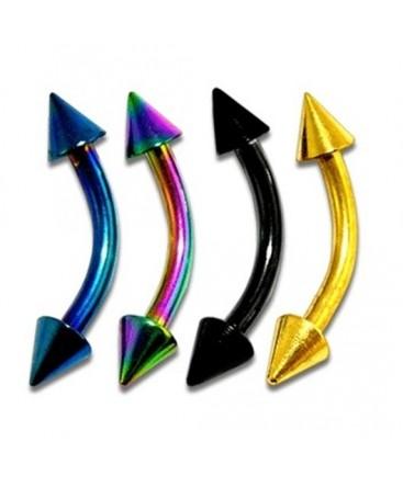 Anodised Titanium Curve Eyebrow / Nipple Bar with Spikes