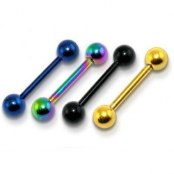 Anodised Titanium Straight Eyebrow / Nipple Bar with Balls