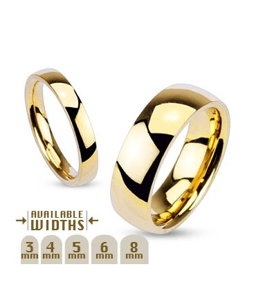 Polished Gold Plated over Stainless Steel Wedding Band Ring
