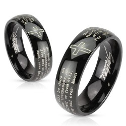 Stainless Steel Black Plated Laser Etched Cross / Crucifix Lords Prayer Band Ring