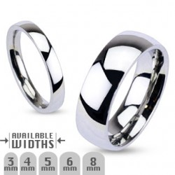 Stainless Steel Glossy Mirror Polished Traditional Wedding Band Ring