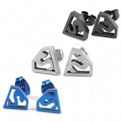 Stainless Steel Superman Logo Earring Studs