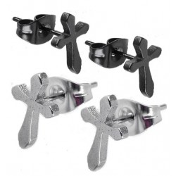 Stainless Steel Cross / Crucifix Stud Earrings