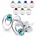 925 Sterling Silver Double Circle Stud Earrings with Coloured Gem