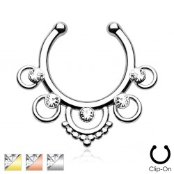 Clip-On / Fake Five Circle CZ Gem Septum Ring