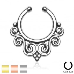 Clip-On / Fake Tribal Swirl Design Septum Ring