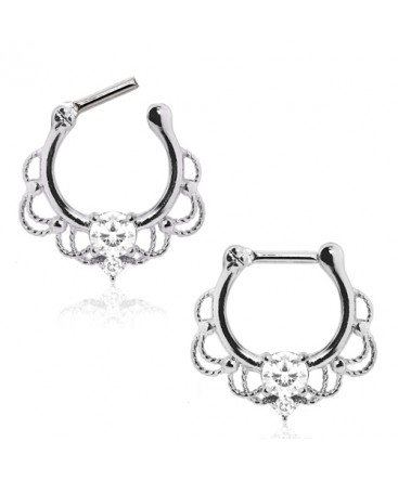 Surgical Steel Plated Lacey Ornate Nose Septum Clicker with CZ Gems