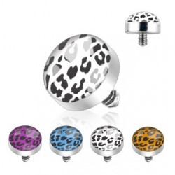 4 Pack Surgical Steel Leopard Print Dermal Anchor Heads