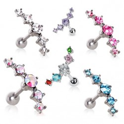Surgical Steel Five CZ Crystal Gem Tragus / Cartilage / Helix / Conch / Stud