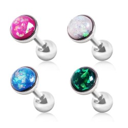 Surgical Steel Tragus / Cartilage / Helix / Conch / Stud  with Synthetic Opal Stone