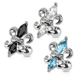 Surgical Steel Fleur De Lis Tragus / Cartilage / Helix / Conch / Stud with Gems