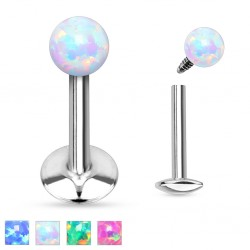 Surgical Steel Internally Threaded Opal Ball Tragus / Labret / Cartilage / Helix / Conch / Stud