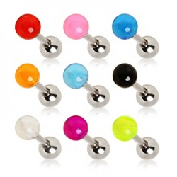 Surgical Steel Tragus / Cartilage / Helix / Conch / Stud with Acrylic Coloured Ball