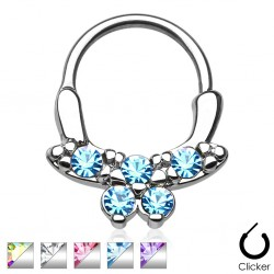 Surgical Steel Pretty Bow Gem Septum Clicker