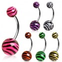 Pack of 7 Surgical Steel Tiger / Zebra Stripe Print Belly / Navel Bars