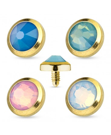 4 Pack of Gold Plated Opal Gem Dermal Anchor Heads