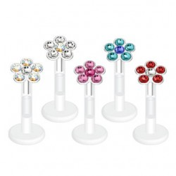 Bioflex Multi CZ Gem Flower Tragus / Labret Bar