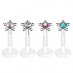Bioflex Gem Set Star Top Push Fit Tragus / Labret Bar