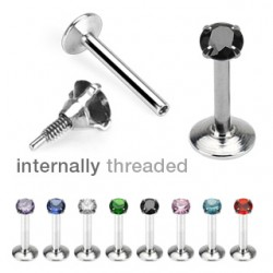 Surgical Steel Internally Threaded Circular Gem Tragus / Labret / Cartilage / Helix / Conch / Stud