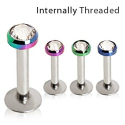 Surgical Steel Internally Threaded Labret / Cartilage / Helix / Conch / Stud with Anodised Titanium Gem Dome Top