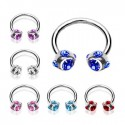 Surgical Steel Horseshoe Barbell with 5 Multi CZ Gem Set Balls