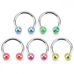 Surgical Steel Horseshoe Barbell with Paint Splatter Balls