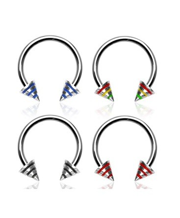 Surgical Steel Horseshoe Barbell with with Striped Spikes / Cones