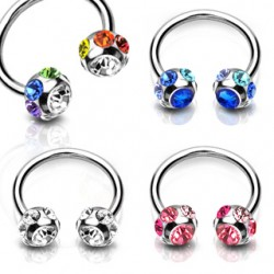 Surgical Steel Horseshoe Barbell with 7 Multi CZ Gem Set Balls
