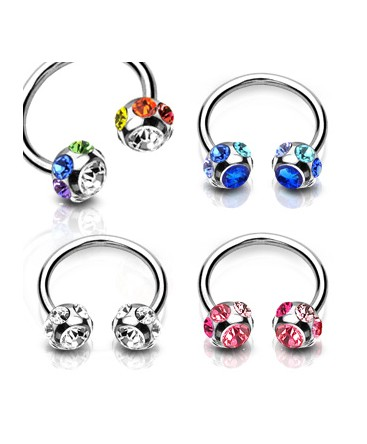 Surgical Steel Horseshoe Barbell with Multi CZ Gem Set Balls
