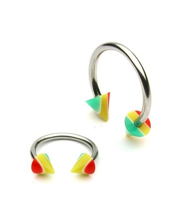 Surgical Steel Horseshoe Barbell with Acrylic Jamacian Rasta Spikes / Cones