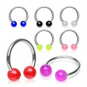 Surgical Steel Horseshoe Barbell with 4mm Coloured Balls