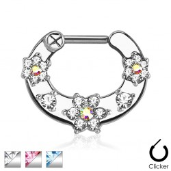Surgical Steel Multi Flower Gem Septum Clicker