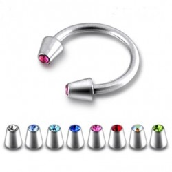Surgical Steel Horseshoe Barbell with Gem Set Cones