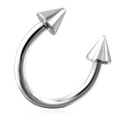 Surgical Steel Horseshoe Barbell with Spikes