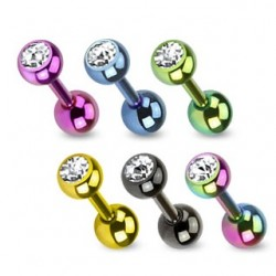 Pack of 5 Anodised Titanium Tragus Cartilage Bars with Clear CZ Gems