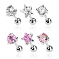 Surgical Steel Tragus / Cartilage / Helix / Conch / Stud with Star / Heart / Circle