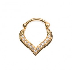 Gold Plated CZ Gem Nose Droplet Design Septum Clicker