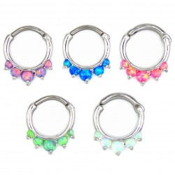 Surgical Steel Synthetic Opal Petal Nose Septum Clicker