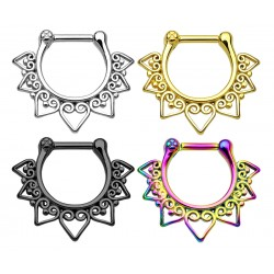 Stainless Steel Heart / Tribal / Fan Septum Clicker