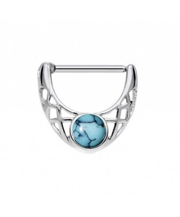 Surgical Steel Howlite / Turquoise Stone Septum Clicker