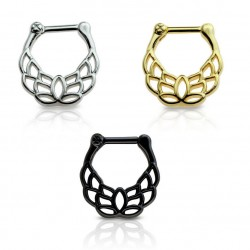 Stainless Steel Lotus Flower Design Septum Clicker