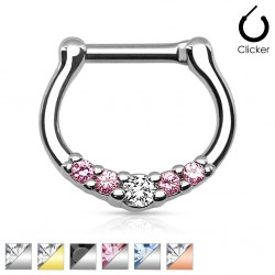 Surgical Steel Five Gem Paved Septum Clicker