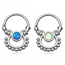 Surgical Steel Synthetic Opal Septum Clicker