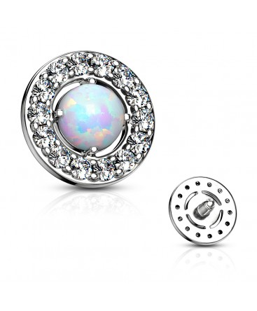 Prong Set Opal Center with CZ Paved Surrounding Dermal Anchor