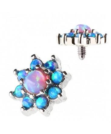 Surgical Steel Blue Pink Opal Cluster Flower Dermal Anchor